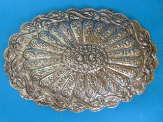 Turkish Silver Coin Repousse Tavra Hanging Mirror 650 Gr photo