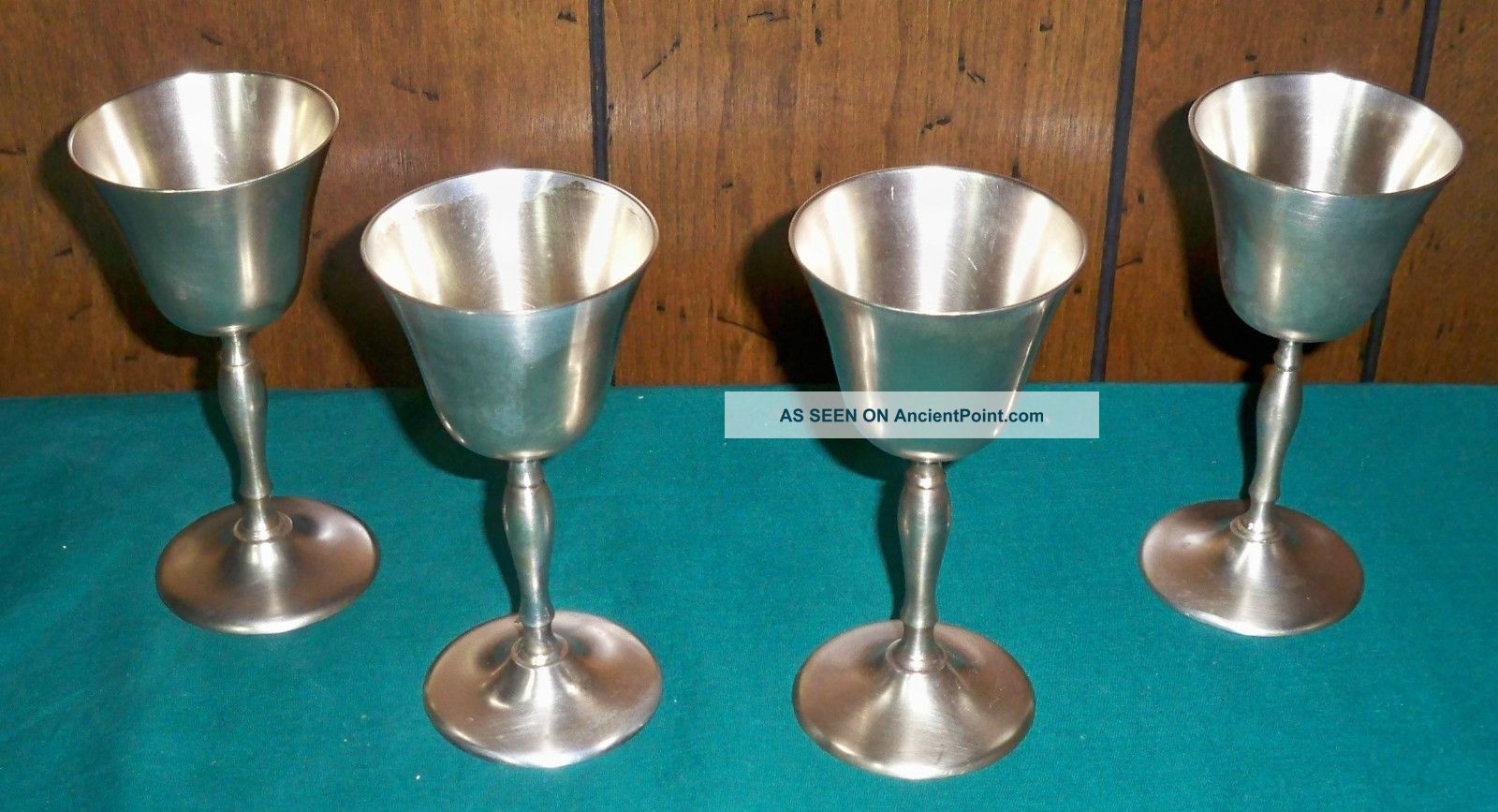 Set Of Four Vintage Leonard Silver Plated Goblets - Epns Cups & Goblets photo