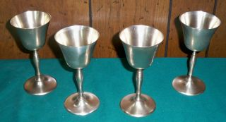 Set Of Four Vintage Leonard Silver Plated Goblets - Epns photo