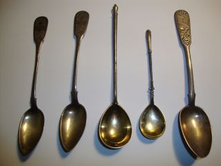 5 Rare Russian Mark 84 Silver Spoons (1) Russian Imperial All Over 120 Years Old. photo