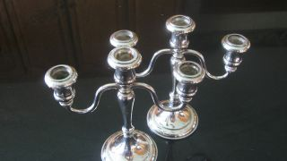 Sheffield Silver Plate Candelabra,  Pair Of 2,  9 7/8 Inches,  Nr photo