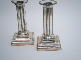 Vintage Silver Plated Reeded Column Candlestick - Pair - A/f photo
