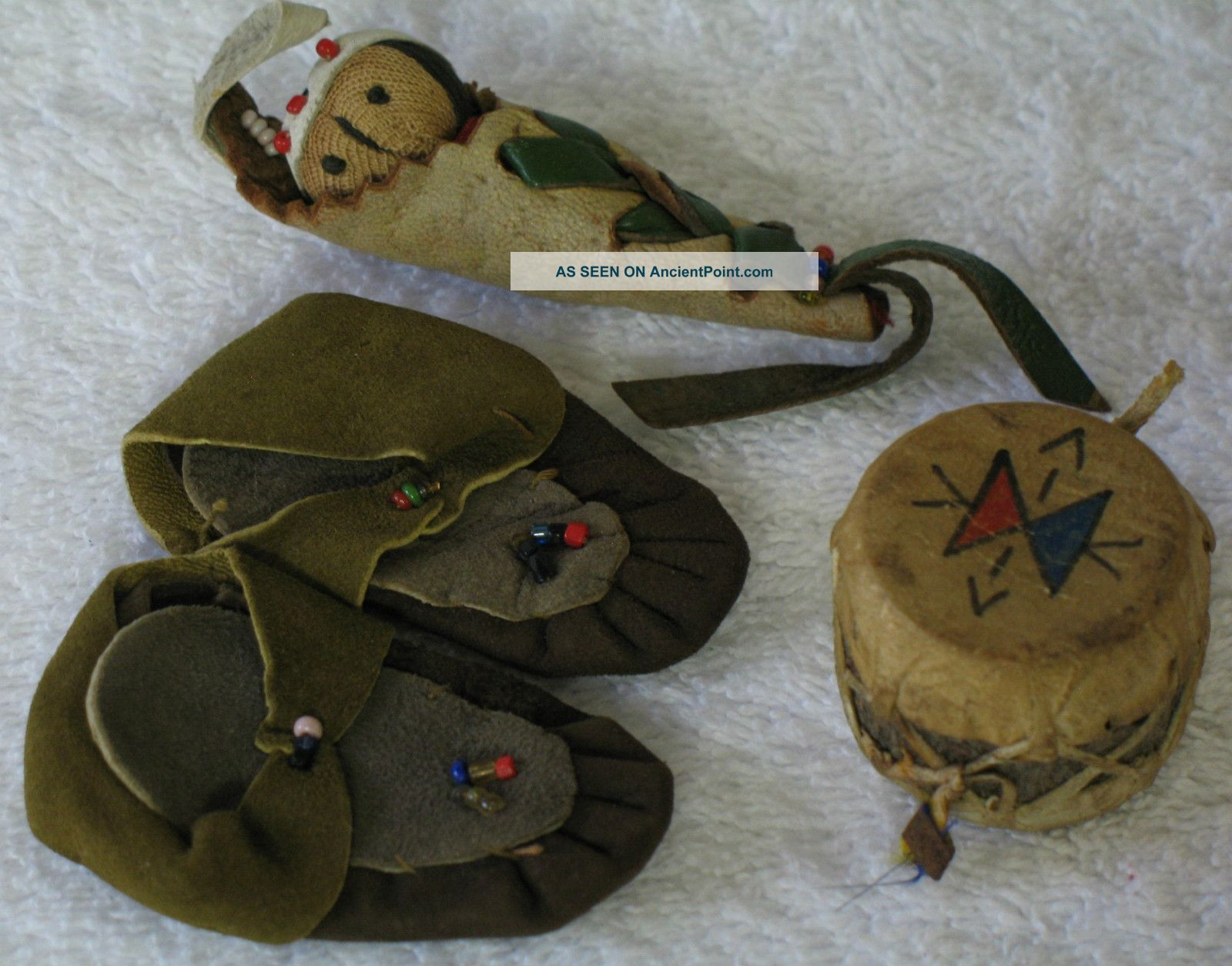 Miniature Moccasins Drum & Papoose Leather Beads & Wood Antique Vintage Other photo