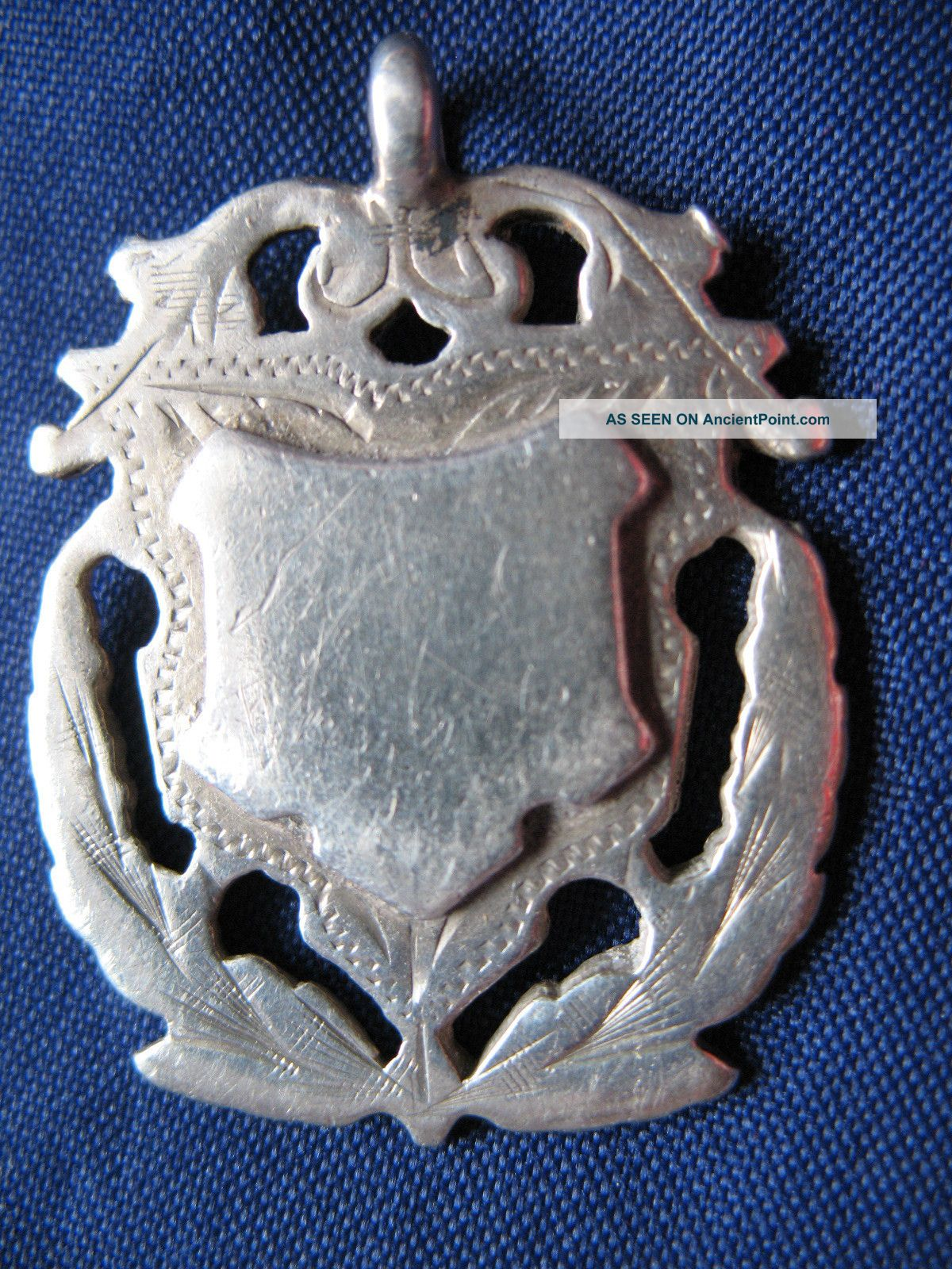Antique Victorian Solid Silver Watch Chain Fob Birmingham 1886 - 87 Pocket Watches/ Chains/ Fobs photo