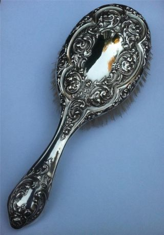 Antique Sterling Solid Silver Hairbrush H/m 1909 - Superior Quality. photo