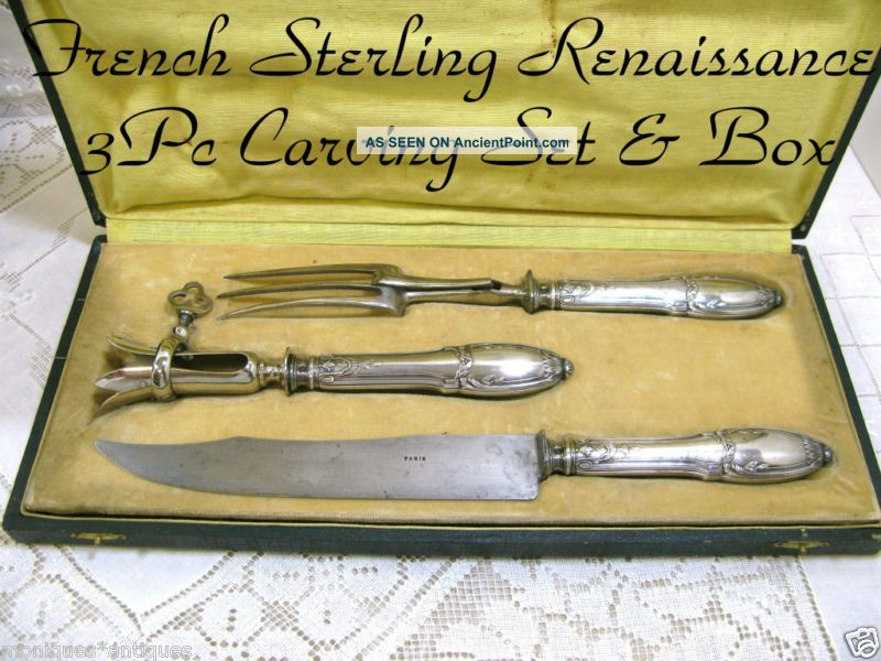 French Minerva Renaissance 3pc Gigot/carving Set W/box France photo