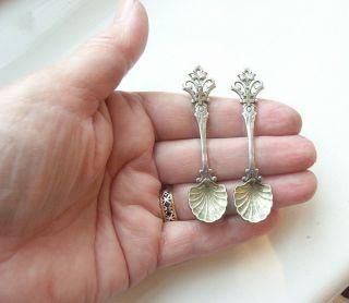 Pretty Pair Antique Georgian Silver Salt Spoons photo