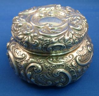 All Sterling Very Fancy Repoussed Powder Dresser Jar photo