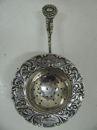 Antique Embossed Dutch Vintage Sterling Silver Tea Strainer Flower photo