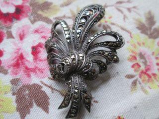 Antique Brooch Silver Art Deco Marcisite photo