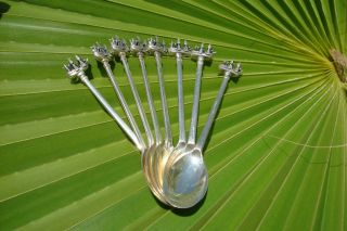 1900 Antique Solid Silver Set Of 8 Tea Or Coffee Spoons 3d Ship One Of Kind photo