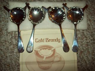 Set Of 4 Hausmann ' S Cafe ' Brandy Silverplate Spoons Must See Made In Italy photo