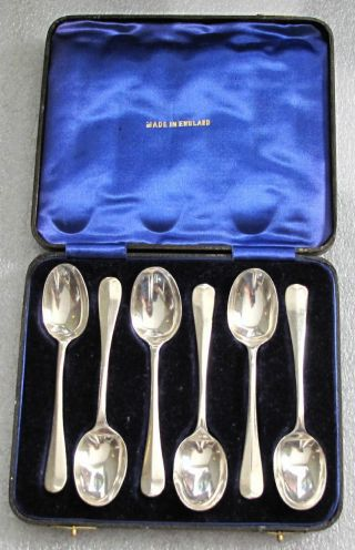 1936 Sterling Silver Spoons Set Of 6,  Birmingham,  Box Assay Marks photo