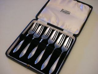 1930s Sheffield Cb&s Sterling Silver Dessert Pastry Fork Set (w/box) photo