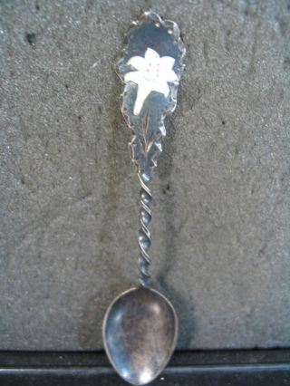 Sterling Vintage White Easter Lily Enameled Spoon photo