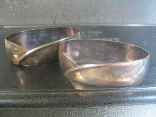 German Bremen.  800 Silver Pair Of Napkin Rings Modern Design Nm photo