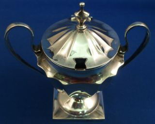 Wonderful Sterling Handled Mustard Pot With Cobalt Liner And Spoon photo