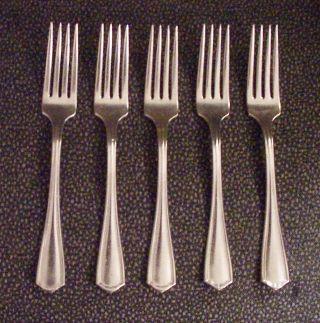 5 Heavy Silverplate Dinner Forks Oneida Hotel Plate Triple - Flatware photo