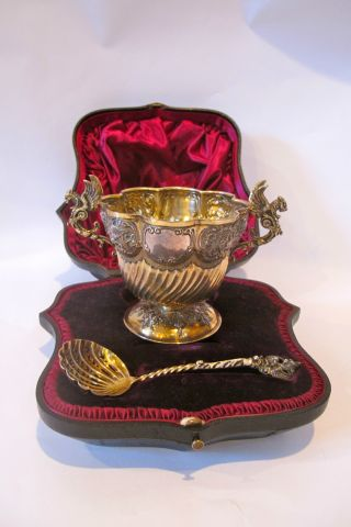 From 1870 English Sterling Silver Presentation Bowl In Box,  Gilded. photo