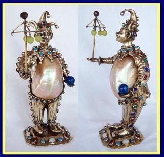 Antique Jester Figure Nautilus Seashell,  Gilt Silver,  Paste Gems (4551) photo