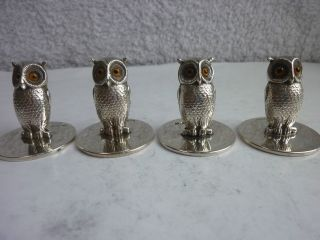 Antique X4 Solid Silver Sampson Mordan Owl Menu Holders Chester 1904 photo