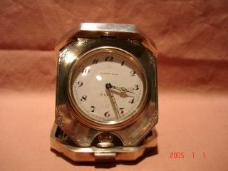 Vintage Tiffany Sterling 8 Day Traveling Or Desk Clock In Good Working Order photo