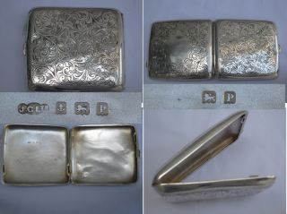 Large Heavy English Sterling Silver Cigarette Case 98gms.  Detailing photo