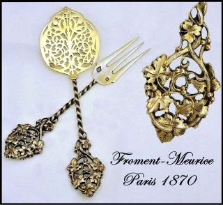 Froment - Meurice: Antique French Vermeil Sterling Pair Hors D ' Oeuvres Servers photo