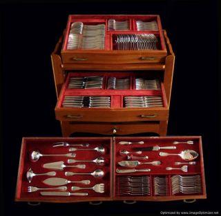 Christofle Sterling Silver Flatware Set + Cabinet,  190pcs. ,  22 Serving Pcs, photo