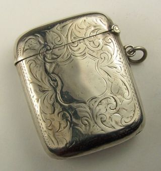 Joseph Gloster English Convex Sterling Silver Matchsafe/chatelaine photo