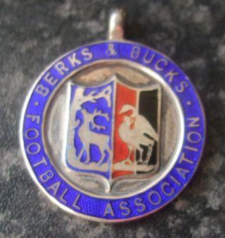 1929 Berks & Bucks Football Association Solid Silver & Enamel Fob Medal photo