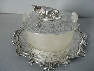 Splendid Antique Sterling Silver Butter Stand,  Dish & Cover 1846 Henry Wilkinson photo