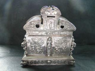 Dutch Tea Caddy Made In Sterling Silver C.  1880 photo