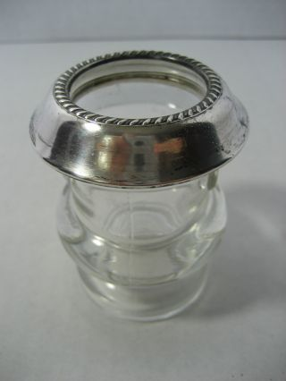 Old Glass Dish Jar With Sterling Silver Top photo