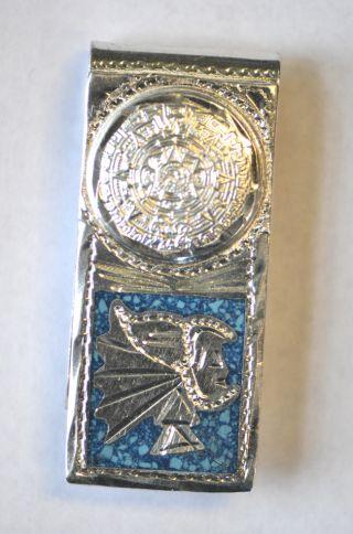 Alpaca Mexico Aztec Warrior/calandar.  925 Sterling Silver/agate Money Clip 1.  1oz photo