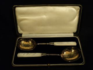 Boxed Set/2 19th C.  English Silverplate Berry Spoons W/ M.  O.  P.  Handles photo