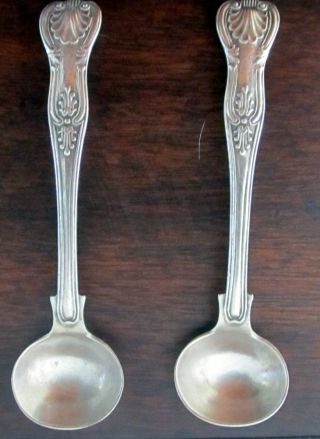 Antique Sterling Silver Pair Condiment Spoons George William Adams London 1857 photo