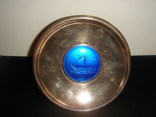 Scandinavian 830 Sterling Silver Blue Enamel Ship Tray Plate - 3 1/4 Oz photo
