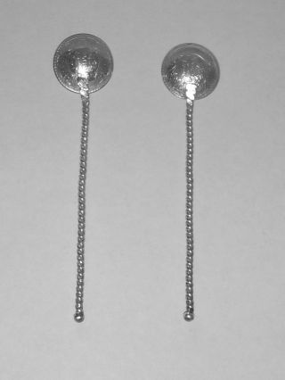 Pair Of 1930s King George India 1/2 Rupee Silver Coin Salt Spoons photo