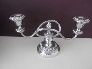 A Vintage Ianthe Silver Plated Two Armed Candleabra - photo