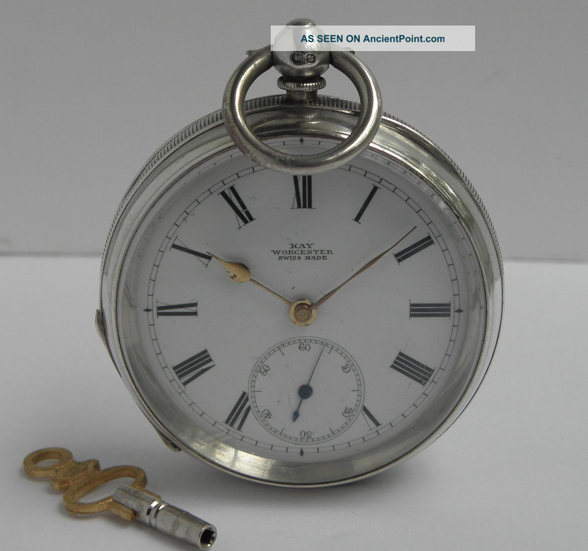 Antique Victorian Solid Sterling Silver Pocket Watch B1896 For Repair Pocket Watches/ Chains/ Fobs photo