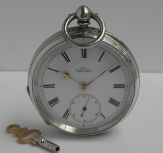 Antique Victorian Solid Sterling Silver Pocket Watch B1896 For Repair photo
