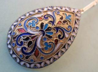 Fine 1888 Russian Silver Gilt Enamel Spoon By G.  Klingert Moscow photo