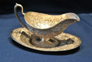 Schofield Baltimore Rose Sterling Gravy Boat And Tray photo