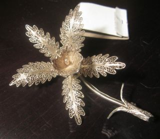 Antique Handmade Large Sterling Silver Filigree Flower Floral Detail Brooch Pin photo