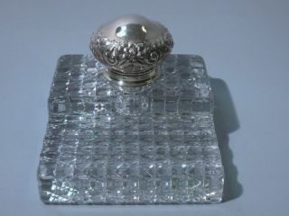 Gorham American Sterling Silver Cut Glass Inkwell Inkpot 1894 photo