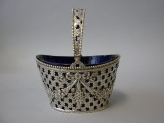 Durgin American Sterling Silver Cobalt Glass Basket C 1890 photo
