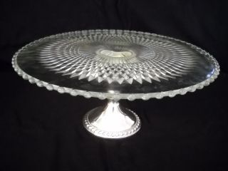 Duchin Creation Hobnob Crystal Cake Plate & Weighted Sterling Pedestal Base photo