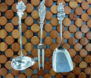 Reed And Barton Sterling Silver Harlequin Floral Series Serving Set No Mono photo