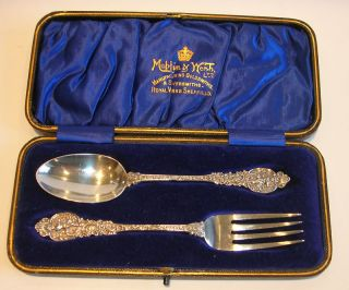 English Sterling Silver Christening Set / Cherubs 1894 photo